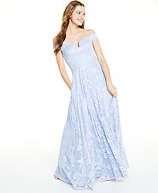 Say Yes to the Prom  Juniors' Off-The-Shoulder Sequined Lace Gown, Created for Macy's