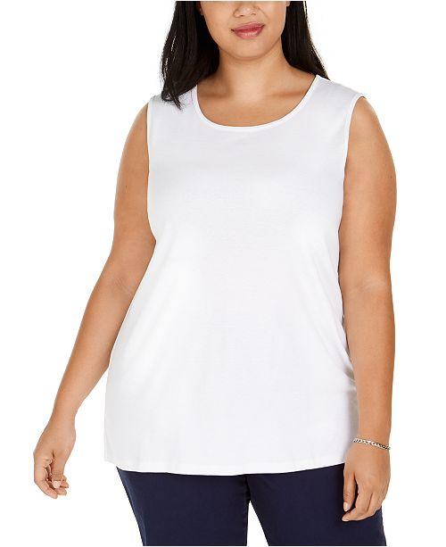 Karen Scott Plus Size Cotton Tunic Tank Top, Created For Macy's