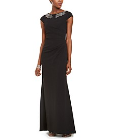 Crepe Beaded Gown