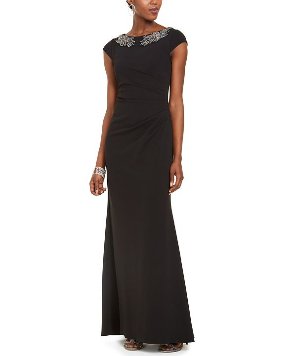 Adrianna Papell Crepe Beaded Gown