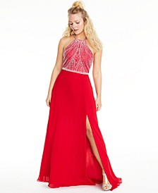 Juniors' Allover-Beaded Halter Gown, Created for Macy's