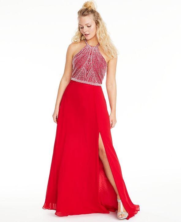 Say Yes to the Prom Juniors' Allover-Beaded Halter Gown, Created for Macy's