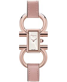 Women's Swiss Double Gancini Rose Leather Strap Watch 14x23mm