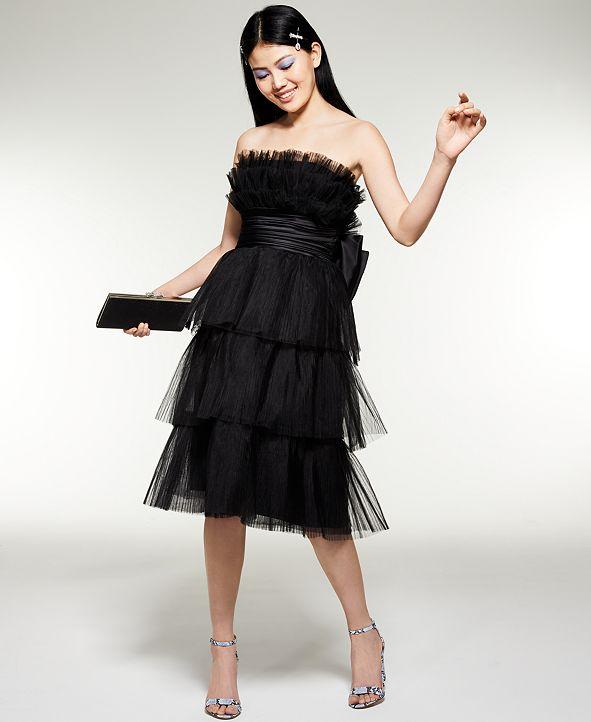 Betsey Johnson Tiered Strapless Midi Dress & Accessories
