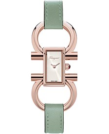 Women's Swiss Double Gancini Green Leather Strap Watch 14x24mm