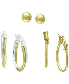 3-Pc. Set Small Hoop and Ball Stud Earrings in Sterling Silver & 18k Gold-Plate, Created For Macy's