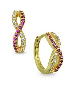 Red Cubic Zirconia Infinity Huggie Hoop Earrings in 18k Gold Plated Sterling Silver