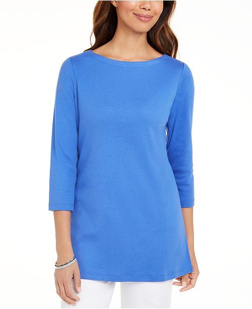 Karen Scott Cotton 3/4-Sleeve Tunic, Created For Macy's