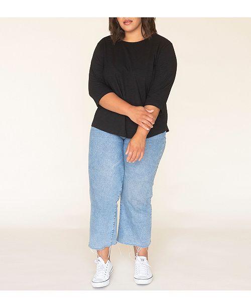 Ori Women's's Plus Size 3/4 Sleeve Signature Perfect Tee