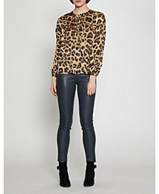 Long Sleeved Animal Print Top with Ties at Neckline
