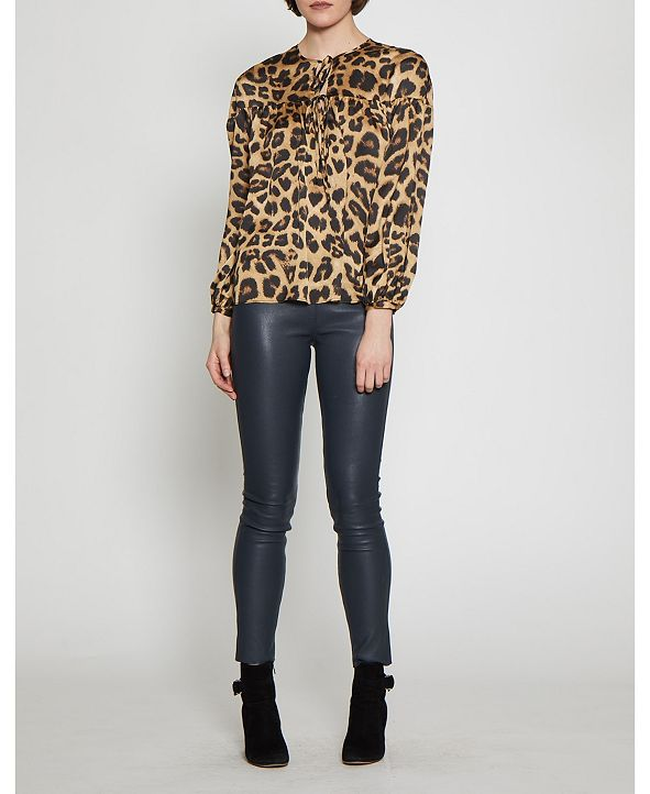 Walter Baker Long Sleeved Animal Print Top with Ties at Neckline