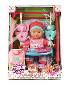 "12"" Baby Doll 4-In-1 High Chair Play Set"