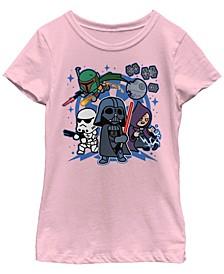 Star Wars Big Girl's Vader Kawaii Chibi Team Empire Short Sleeve T-Shirt