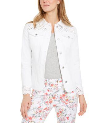 Eyelet-Trimmed Denim Jacket, Created for Macy