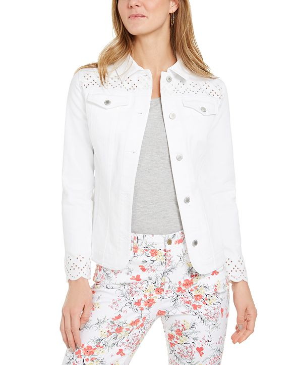 Charter Club Eyelet-Trimmed Denim Jacket, Created for Macy's