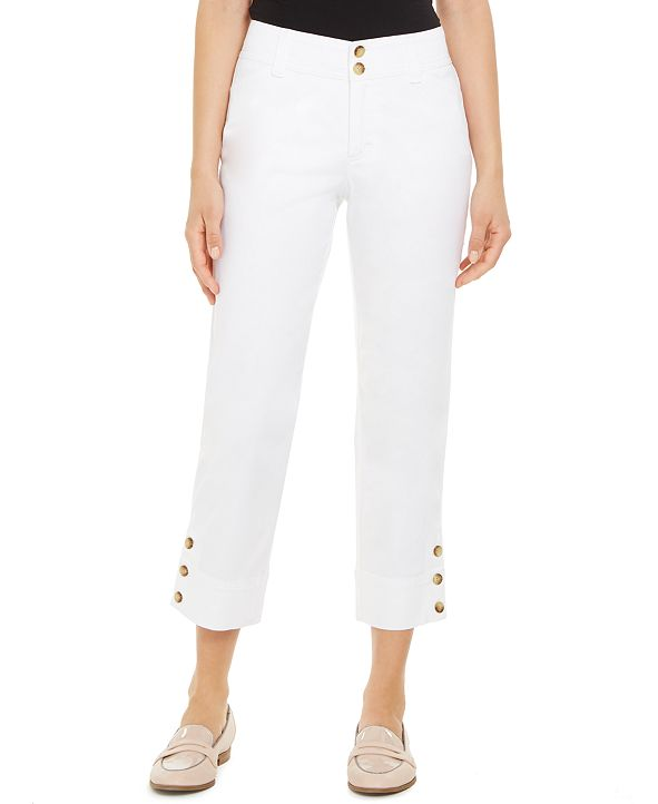 Charter Club Button-Cuff Tummy Control Capri Pants, Created for Macy's