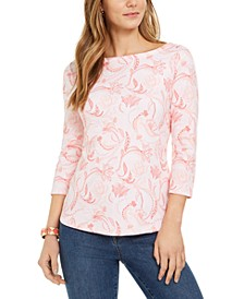 Petite Cotton Paisley-Print Top, Created for Macy's