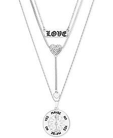 "Pavé Heart ""Love"" Layered Pendant Necklace, 15"" + 3"" extender"