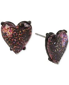 Black-Tone Glitter Heart Stud Earrings