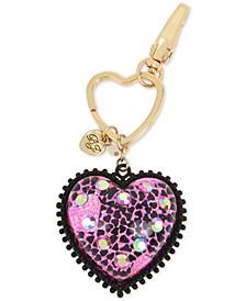 Two-Tone Crystal Glitter Heart Key Chain