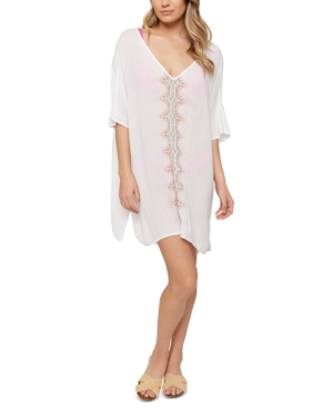 O'neill Juniors' Francis Embroidered Cover-up Dress Women's Swimsuit In Neutrals