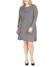 Plus Size Checked Ruffle-Trim Dress
