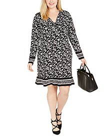 Plus Size Ruched-Bodice Border-Print Dress