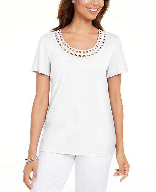 Karen Scott Petite Cotton Rhinestone Top, Created for Macy's