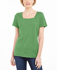 Cotton Square-Neck T-Shirt, Created for Macy's