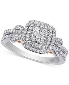 Diamond Princess Halo Ring (3/4 ct. t.w.) in 10k White & Rose Gold