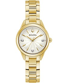 Women's Sutton Diamond-Accent Gold-Tone Stainless Steel Bracelet Watch 28mm