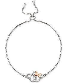 Cubic Zirconia Interlocking Mickey & Minnie Bolo Bracelet in Sterling Silver & 18k Rose Gold-Plate