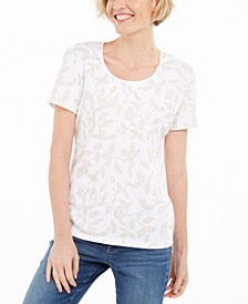 Petite Leaf-Print Top, Created for Macy's