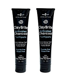Claybrite Activated Charcoal Toothpaste Set of 2 Pack, 8oz