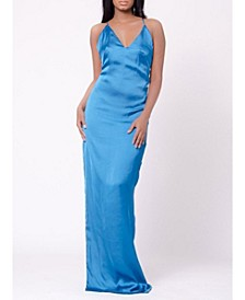 Satin Side Slit Deep V Maxi Dress