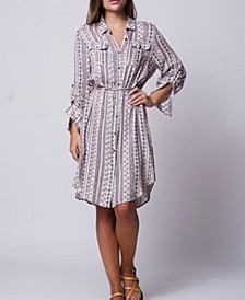Adjustable Sleeves V Neck Button Down Laxey Shirt Dress
