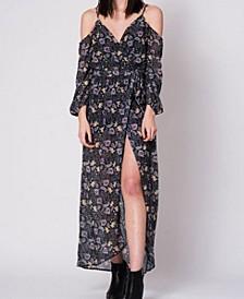 Long Sleeve Cold Shoulder Maxi Dress