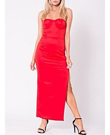 Strapless Exposed Zipper Double Layered Maxi Dress