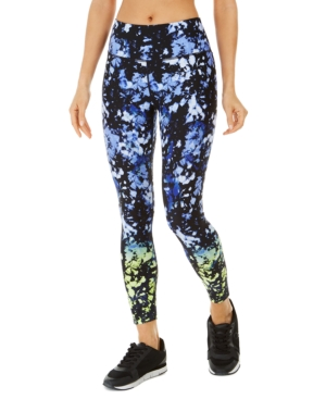 Calvin Klein Performance Malibu Printed High-waist Leggings In Blue