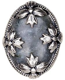Silver-Tone Floret & Gray Labradorite Statement Ring