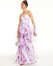 Juniors' Ruffled Printed Organza Gown, Created For Macy's