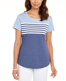 Petite Stripe Colorblocked Top, Created For Macy's