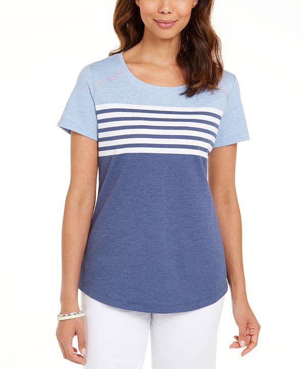 Karen Scott Tara Colorblocked Stripes Rivet Top, Created for Macy's