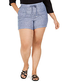 Style & Co Plus Size Cross-Dye Linen Shorts, Created for Macy's