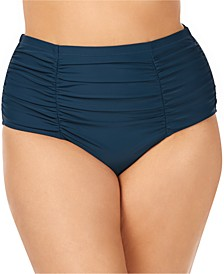 Trendy Plus Size Ruched Costa Tummy Control High-Waist Bikini Bottoms