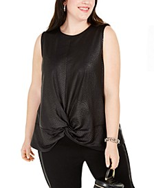 INC Plus Size Snakeskin-Textured Knot-Hem Top, Created for Macy's