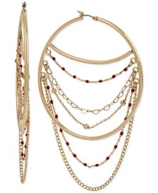 """Extra Large Gold-Tone Multi-Chain Swag Hoop Earrings 3-3/4"""""""
