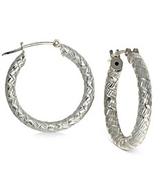 "Small Textured Hoop Earrings in Sterling Silver, 0.75"", Created For Macy's"