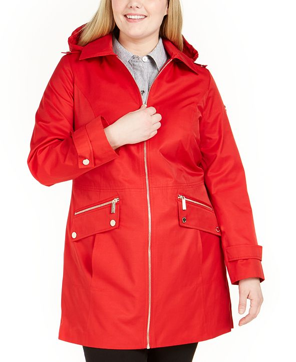 Michael Kors Plus Size Hooded Water-Resistant Raincoat