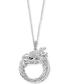 "EFFY® Diamond Dragon 18"" Pendant Necklace (7/8 ct. t.w.) in 14k White Gold"